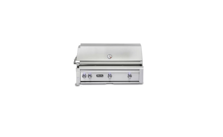 From Viking, the Professional 5 Series of outdoor grills are available in four sizes (from 30 to 54 inches) have temperature gauges, stainless steel burners, and ceramic briquettes. A 36-inch Built-In Viking Grill with three burners (and a total of 73,000 BTUs) is $5,089 from AJ Madison.