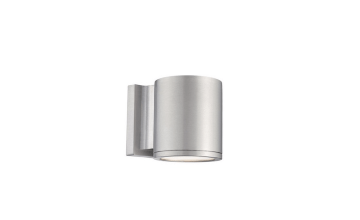 An adjustable Tube Up/Down Outdoor Wall Sconce is available in five finishes including brushed aluminum (shown); $9.95 from Lightology.