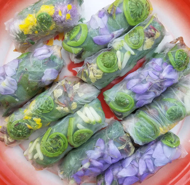 Wrap wisteria flowers in summer rolls (you can also use Solomon&#8\2\17;s seal, brassica, and chive flowers), add them to creamy tahini-dressed chickpeas, or ferment them to make fizzy drinks and even vinegar. The green parts of wisteria, including the bean-like pods, are considered toxic.