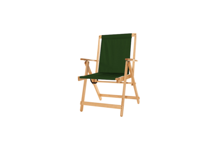 A Highlands Deck Chair folds flat for storage and is \$\266 from Blue Ridge Chair Works.
