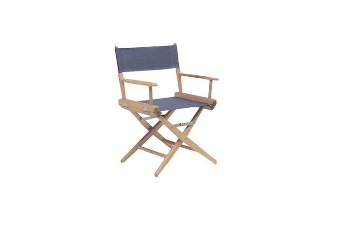 A woodLow Back Director&#8\2\17;s Chair has a canvas seat and back and can hold up to \250 pounds; it is \$\1\29.74 from Film Tools.