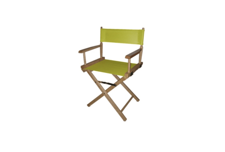 Made of hardwood, a Director&#8\2\17;s Chair with a natural cotton cover is \$48.99 from Target.