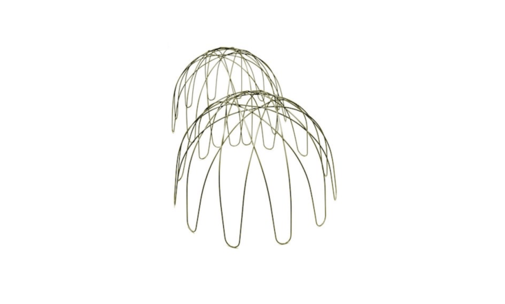 Place a steel Domed Plant Support powder-coated in a green finish over a mounding perennial. The plant will grow through the wire and the cage will disappear beneath foliage and flowers. It is available in two sizes; £\2\2.99 and £\29.99 at Crocus.