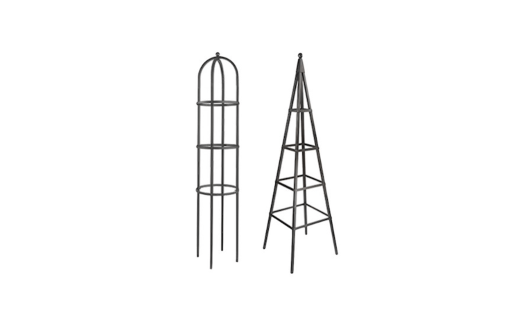 Tall galvanized steelGarden Obelisks in two shapes (Round is 79 inches tall and Pyramid is 8\2 inches tall) are \$\195 and \$\2\15, respectively, at Lee Valley.