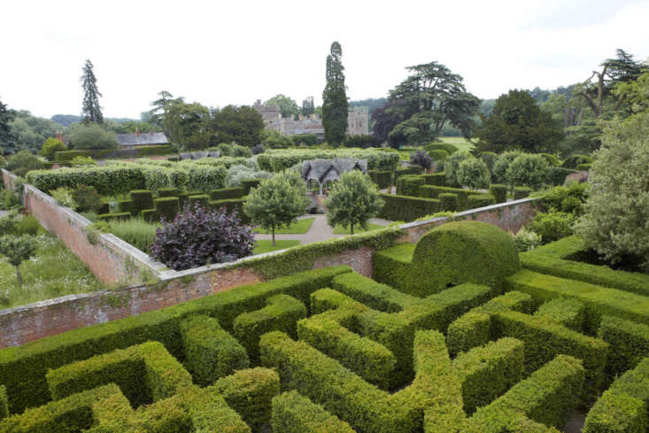 The maze and a series of walled gardens at Hampton Court Castle, Herefordshire.