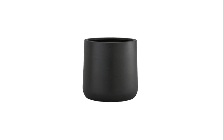 At \15 inches in diameter and \15.5 inches tall, a Saabira Fiberstone Planter will accommodate a large plant or a small patio tree; \$79.95 from Crate & Barrel.