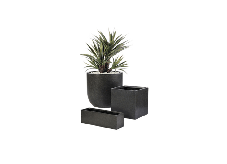 Lightweight planters made from made from a mixture of natural stone and resin, Modern Outdoor Planters are available in four sizes and shapes at prices from \$\14\2 to \$8\2\1 depending on size from Botanicus Green.