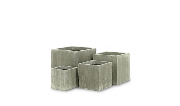 With a molded textured surface, Antique Green Ficonstone Square Potsare available in four sizes from 8 to \14.5 inches and at prices from \$\18 to \$55 depending on size from Jamali Garden.