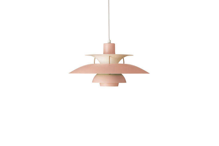Hanging over a dining table in Hackney, London,are twoLouis Poulsen Ph5 Pendant Lights in pink; $996 each at Design Within Reach.