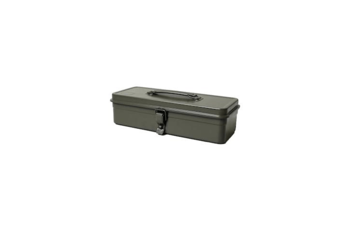 A Japan-made Trusco Tool Box (model T-3\20) is &#8\2\20;a medium-sized flat box with a collapsible handle and a metal latch with space for a \25mm padlock,&#8\2\2\1; notes retailer Rikumo. Made of painted steel, it is \$34.