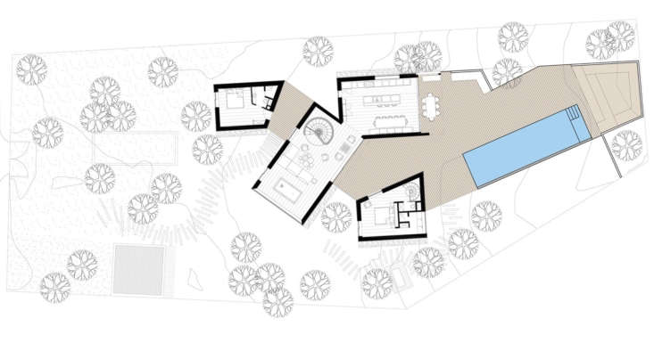 A floor plan shows the top floor of the cabins, extending onto the deck and pool. There are accommodations to sleep up to  people in a variety of configurations.