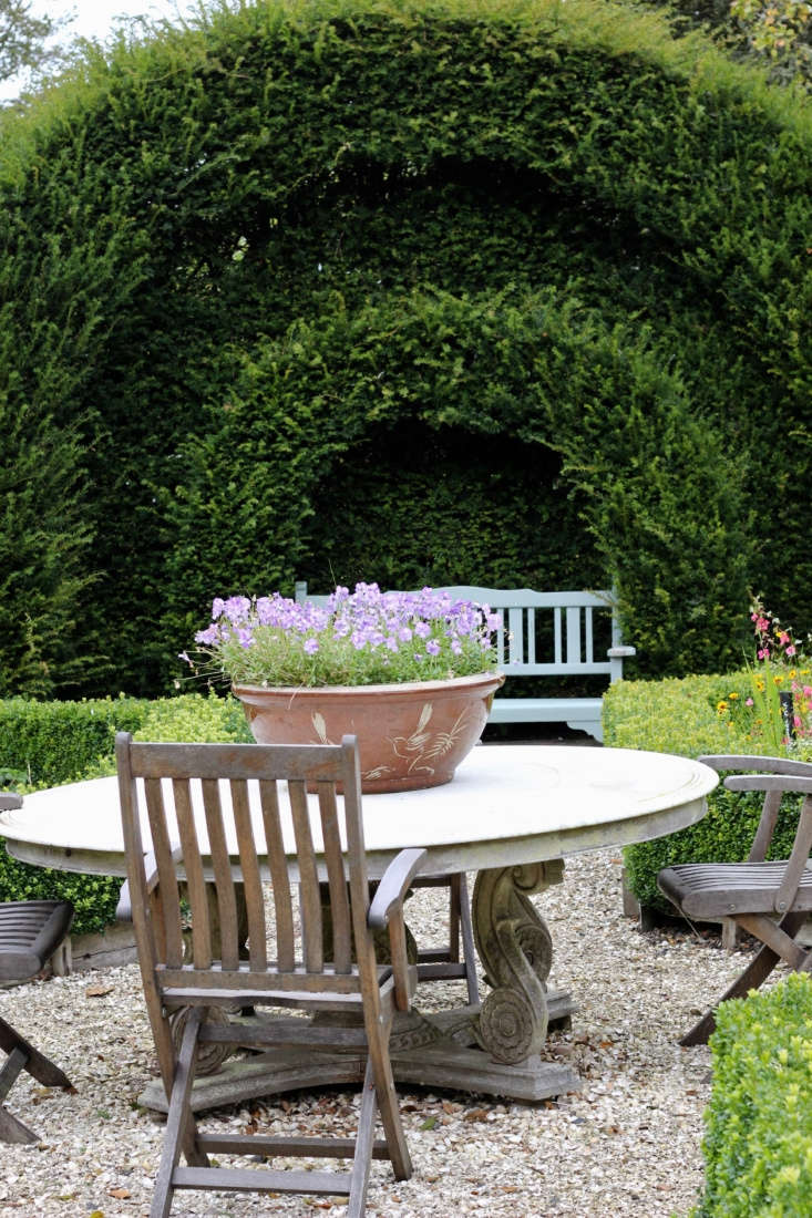 A seating area in the potager at Wormistoune. The paths here are made from cockle shells.