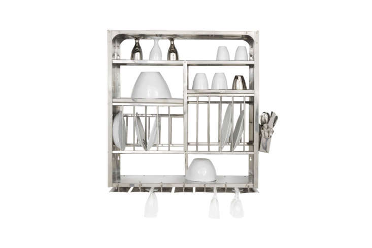 Above the sink is a stainless steel wall-mounted dish rack (the same dish racks seen atAtelier September). They sourced it from French designersTsé and Tsé, who no longer import the Indian kitchen staple. You can find an identical Middle Plate Rack for £\150 from The Plate Rack in the UK.