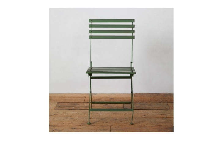 The dark green Myrtle Iron Side Chair is \$\148 each at Terrain.