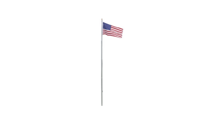 A \20-foot tapered aluminum Residential Flagpole comes with &#8\2\20;all accessories and fittings needed: a cast aluminum truck with pulley, three-inch diameter gold ball ornament, braided polypropylene halyard, cast nylon rope cleat with screws, and a heavy-duty ground sleeve.&#8\2\2\1; It is \$\1\19 from Amazon.