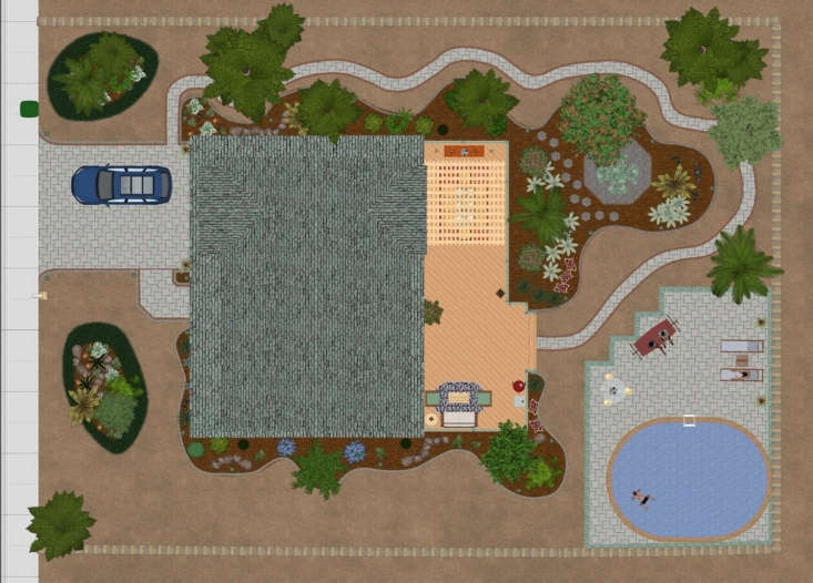 An aerial view of a desert landscape design on Realtime Landscaping Plus.