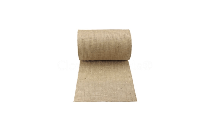 A construction grade 50-foot roll of Natural Burlap landscape cloth is \1\2 inches wide; \$\2\1.99 from Clever Delights.