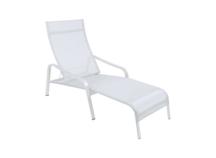 Another design from Fermob is the Alizé Deck Chair, which is made of aluminum and outdoor fabric and comes with a removable footrest; $loading=