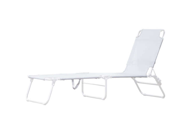 The Amigo Aluminum Three-Leg Lounger is from Italian manufacturer Fiam and is made of aluminum and textilene, a weatherproof and UV-resistant fabric; $8 at Connox.