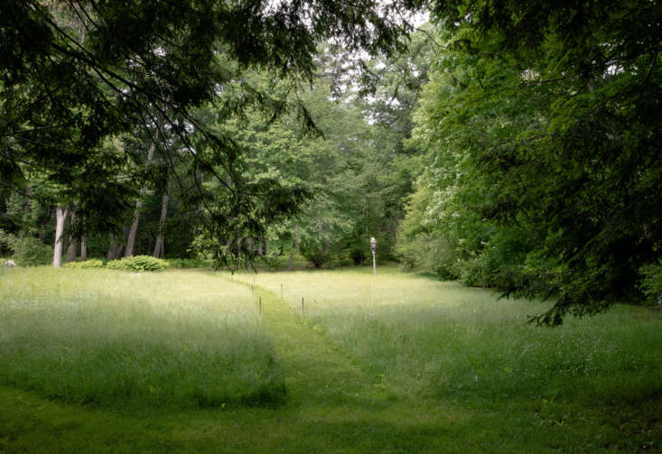 In the new landscape designed by Richard Burck ofRichard Burck , a mown path provides a link and transition to the surrounding woodlands beyond. Photograph by Justine Hand for Gardenista, from Garden Visit: A Revolutionary Landscape in Concord, MA.