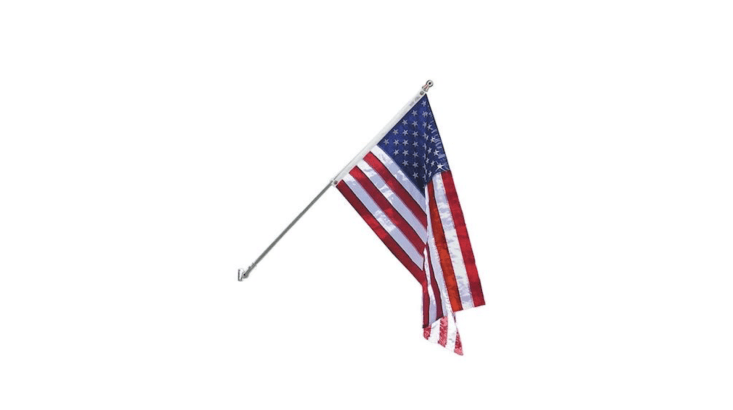 Made in the US by Annin Flagmakers, a six-foot-long, wall-mounted aluminum Spinning Flagpole comes with a three-by-five-foot flag and fasteners; \$55.79 from Home Depot.