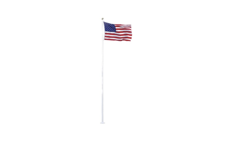 A \20-footWhite Fiberglass Flagpole scaled for residential gardens has a maintenance-free surface even under trying weather conditions (it is designed to withstand \100-mph winds). The flagpole comes with a four-by-six-foot American flag; the set is \$359.99 from Home Depot.