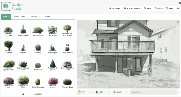 Garden Puzzle lets you click on a plant and add it to a landscape; $ for a single user license comes with online access for six months.