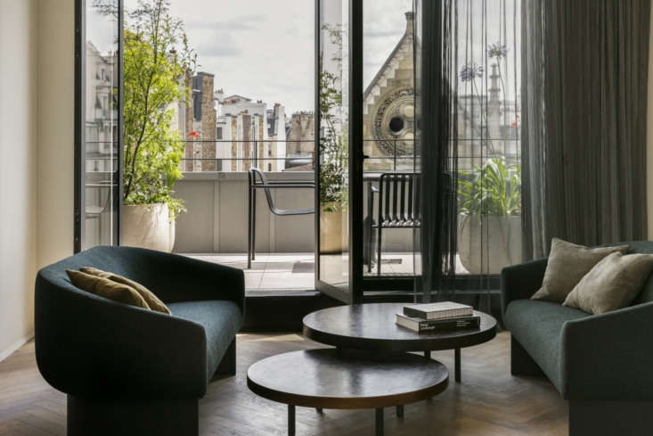 Situated between Montorgueil and the Marais, the Hotel National des Arts et Metiers in Paris has guest rooms with balcony gardens.Photograph via Hotel National des Arts & Métiers.
