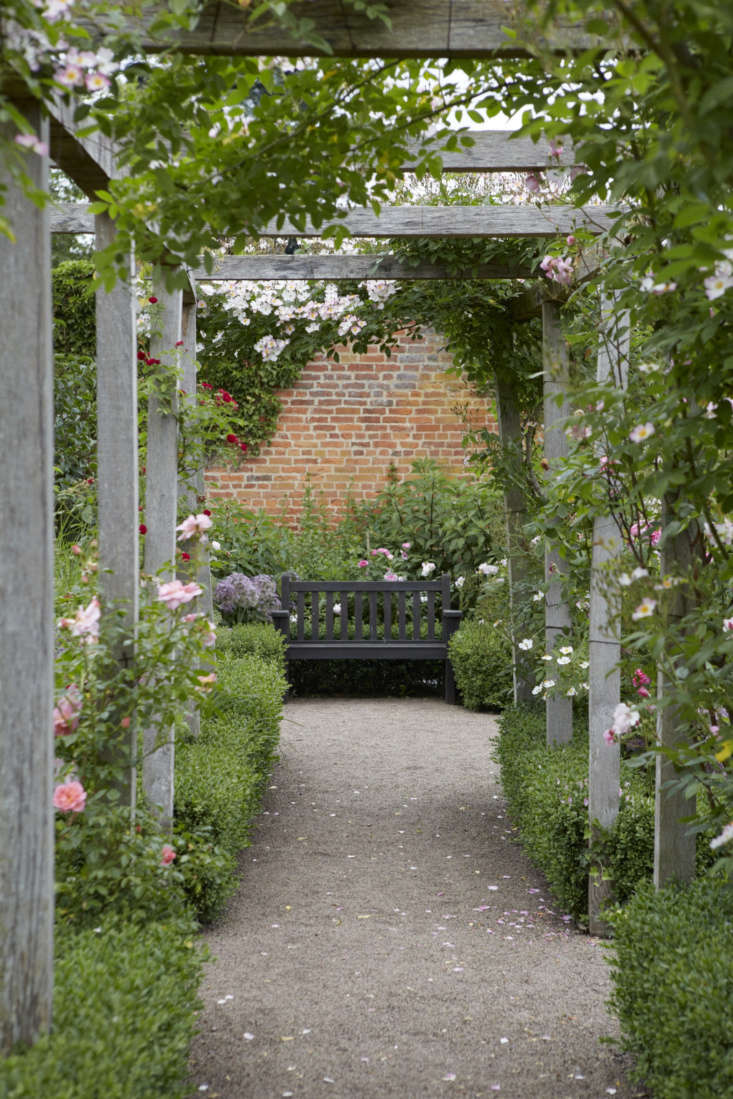 A rustic pergola decorated with roses and boxwood.