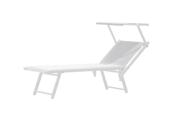 The Jan Kurtz Rimini Classic Sunbed is made of a white powder-coated aluminum frame and a waterproof and UV-resistant fabric; $395 at Connox.