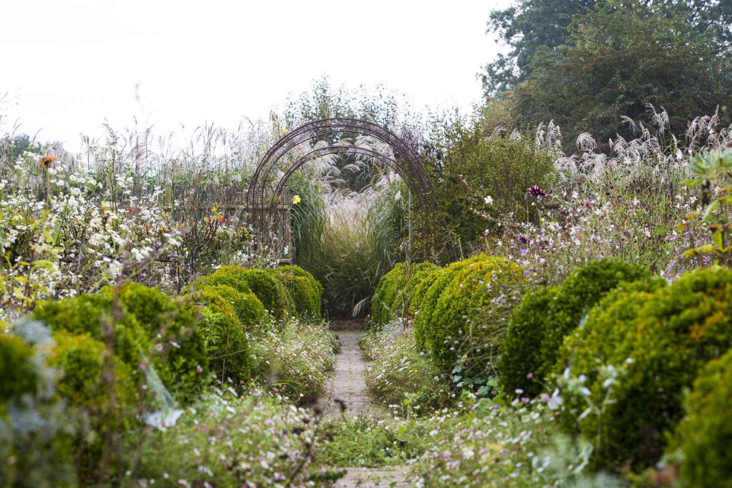 Empty arches and shaggy topiary give this garden an informal structure even when the jewel-like dahlias and helianthemums have faded and the trailing Erigeron annushas withdrawn. Successional perennial and bulb planting, flowering from spring to autumn, is held together by a river of bright, tall annuals, such as nigella, poppy, dill, and red orach spinach.
