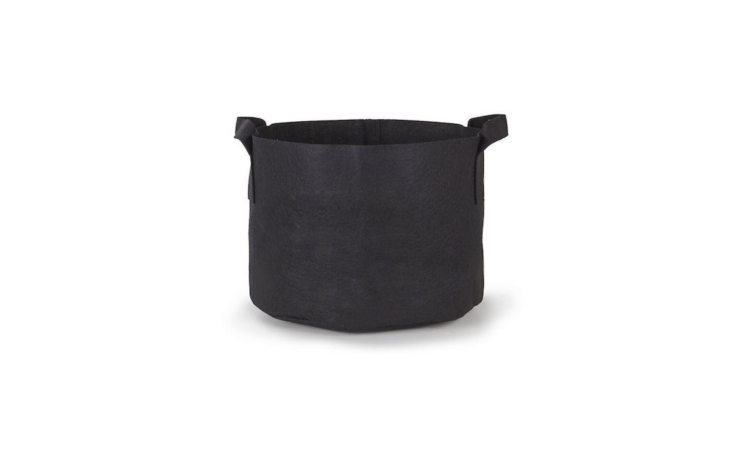 A black \25-gallon Aeration Fabric Pot/Plant Grow Bag with handles to make it easier to haul around is \$3.\19 from \247Garden.