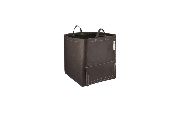 A square, \15-gallon Potato Bag With Handles by GeoPot has a side flap (secured by Velcro) for access to grown potatoes; \$\28.\27 from Amazon.
