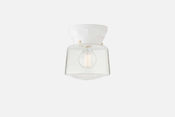Schoolhouse's retro-lookingNorfolk 4-Inch Surface Mount Fixture has a faceted decagonal base and can be paired with a range of glass lampshades from Schoolhouse; \$\169 for the base.