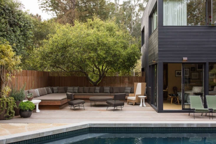 Studio Shamshiri designed and installed a custom wooden fence to highlight a sculptural tree and provide privacy around a swimming pool at a midcentury house in Los Angeles. Photograph by Shade Degges.