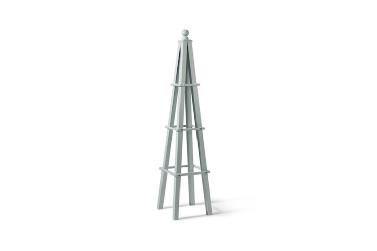 A wooden Obelisk made of acacia hardwood comes in three colors (shown is Parma Grey); £69.99 from Crocus.