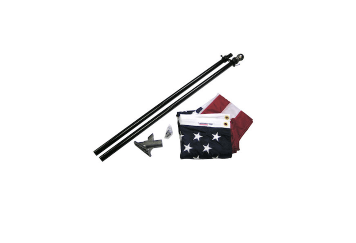 AnAll-American Flag Set comes with a two-piece, six-foot pole, mounting rings, a positino bracket, and a three-by-five-foot nylon flag. It is \$49.50 from Flags International.