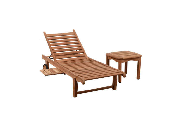 The Cairo Teak Outdoor Chaise Lounge comes with light gray cushions for $849 at Home Depot.