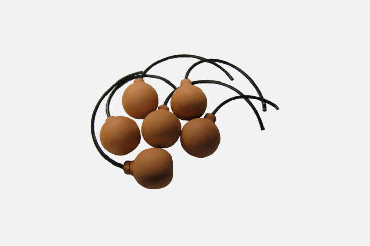 Another ancient-inspired design, theOlla Ball Irrigation System is designed as a series of clay balls to be buried under the soil and connected by tubing to a water supply; \$48 for a pack of six from Cutting Edge Ceramics on Etsy.