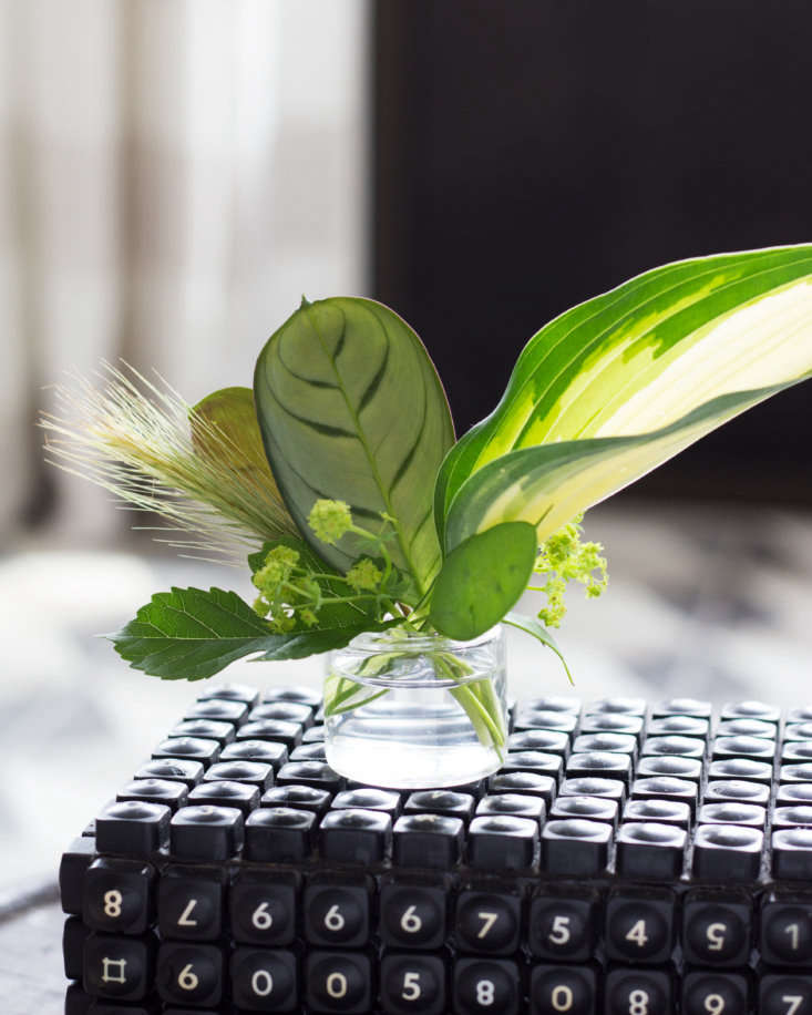 Stark created a tiny arrangement of calathea, hosta, lady's mantle, and grasses in a tiny vase. For a similar glass vase, see the Mini Cube Vase; $.