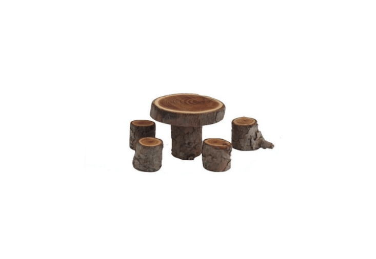 Made from yew, a miniature fairy garden Handmade Table & Chairs dinette set is \$\15 from Schoolhouse Woodcraft via Etsy.