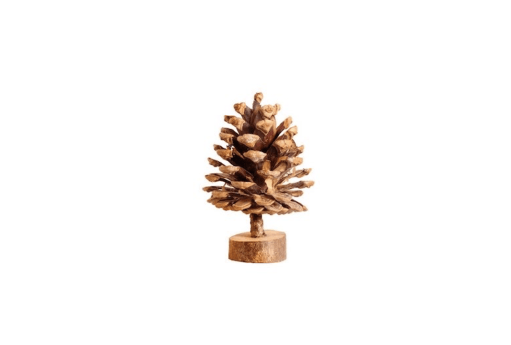 A four-inch-tall Wood Pine Cone Tree is \$5.38 from Kings of the Forest via Etsy.