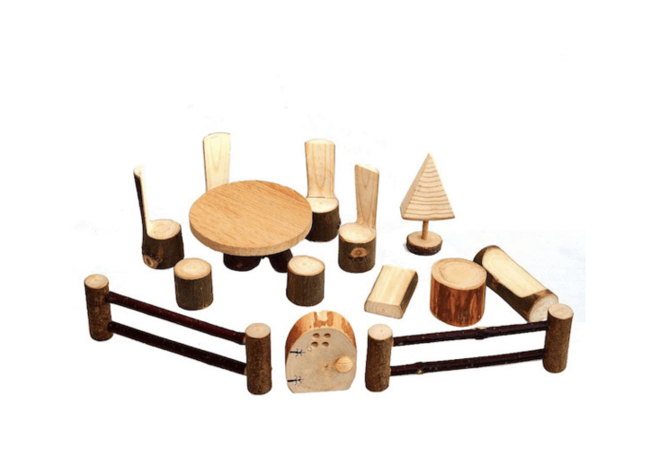 A set of wooden Fairy Garden Accessories is \$39.95 from Dimokl Wooden Toys via Etsy.