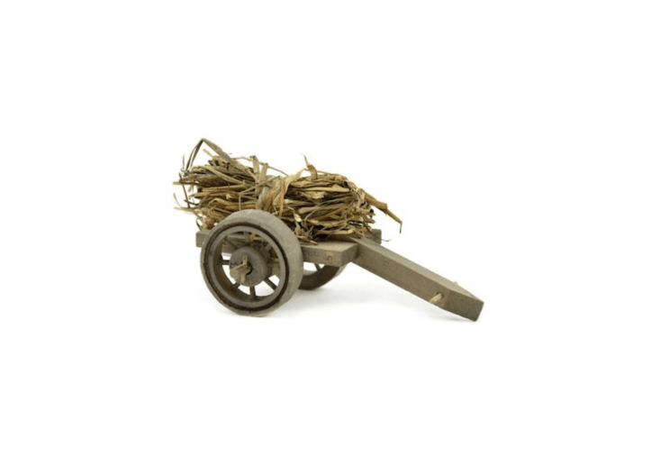 Hayrides for fairies? Possibly we&#8\2\17;re getting carried away. A \2.5-inch-tallWood Wagon with Straw is \$5.69 from Lemon Drop Miniatures via Etsy.
