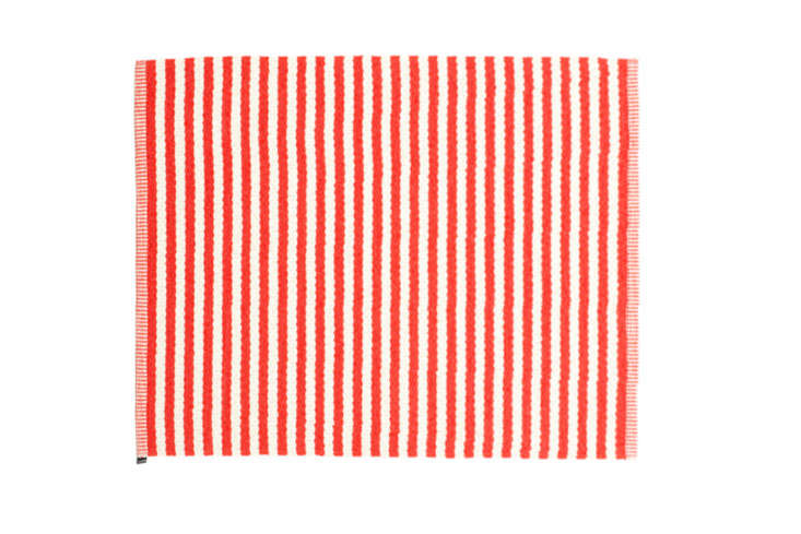 Another style from Swedish brand Pappelina is the nautical-looking Duo Plastic Rug, shown in Coral Red and Vanilla. It&#8\2\17;s also made in Sweden from phthalate-free PVC and polyester and is available in a \2.75-by-5.\25-foot size for \$\258 at Fjørn.