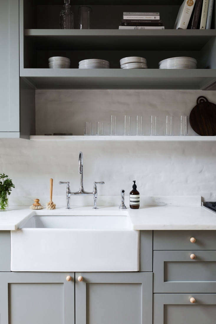 A kitchen remodel in a circa-90 Victorian townhouse in Park Slope, Brooklyn included new cabinets (also shown in the top photo of the post), painted in Farrow & Ball&#8