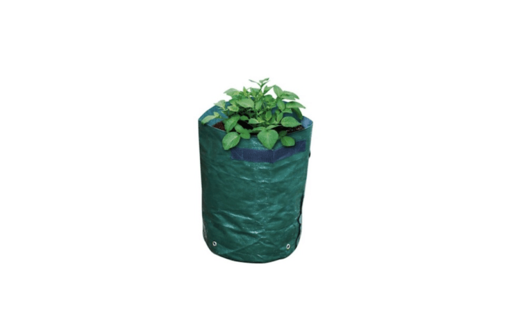 APotato Planter Bag with a drainage hole and a potato removal flap is \$5 NZD from The Warehouse.