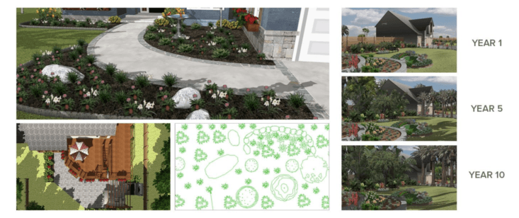 Punch Landscape Design shows how a garden will look after plants become mature.