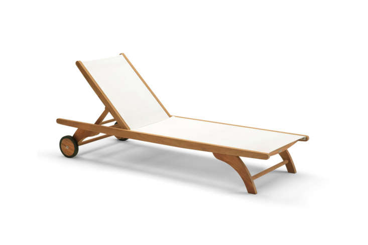 Another classic design from Skagerak is the Columbus Sunbed made from 0 percent FSC-certified teak and black or white fabric; 5,995 DKK (about $9) at Skagerak.