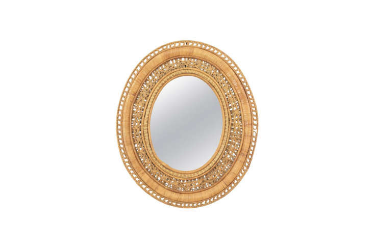 Source avintage \1960s French Large Rattan Mirror from \1st Dibs for \$\1,457 or find other rattan mirrors from sources such as Maisons du Monde in France, who offers theBucolique Round Rattan Mirror D 34 for £\19.\19.